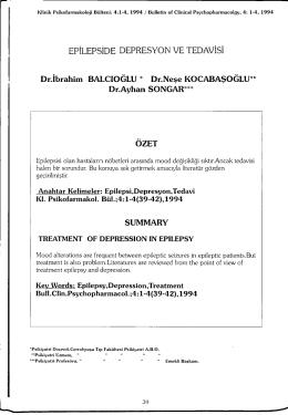 EPİLEPSİDE DEPRESYON VE TEDAVİSİ Dr.İbrahim BALCIOĞLU