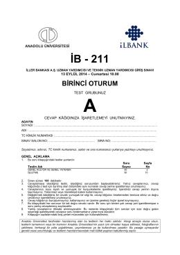İB - 211 - Anadolu Üniversitesi Sınav Hizmetleri
