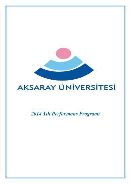 2014 Yılı Performans Programı - aksaray üniversitesi strateji