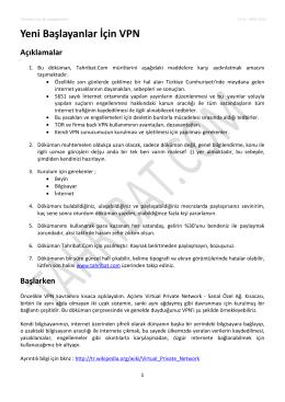 Yeni Başlayanlar İçin VPN Açıklamalar - TD Software © 2006-2014