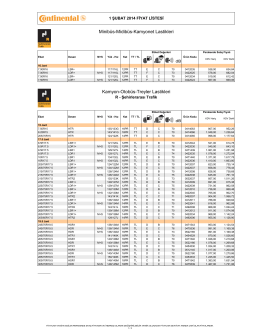 Continental Kamyon Listesi 1 ŞUBAT 2014