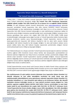 """Superonline İletişim Hizmetleri A.Ş. Abonelik Sözleşmesi Eki """"Tek"""