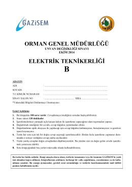 Elektrik Teknikerliği B - Orman Genel Müdürlüğü