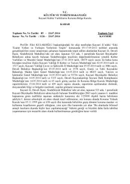 Kayseri-Develi-Sindelhöyük Mah I.Derece Arkolojik Sit Alanındaki