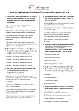 batı eğitim kurumu iş güvenliği uzmanlığı deneme sınavı x