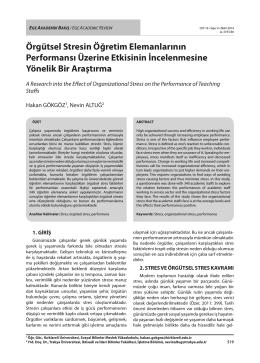 Örgütsel Stresin Öğretim Elemanlarının Performansı