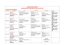2. Sınıf Ders Programı
