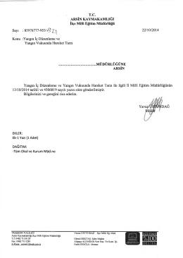 İlçe Milli Eğitim Müdürlüğü Yazısı - Arsin İlçe Milli Eğitim Müdürlüğü