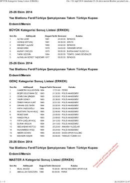 BÜYÜK Kategorisi Sonuç Listesi (ERKEK