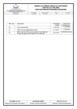 yön.pr.29 radyoloji bölümü radyasyondan korunma programı