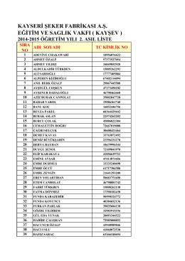 2.Asıl Liste - kayşev 2014