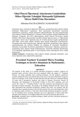 genişletilmiş mikro öğretim yöntemiyle matematik etkinlikleri