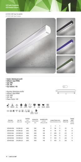 • Gövde: Alüminyum profil • Diffüzör: Opal PMMA