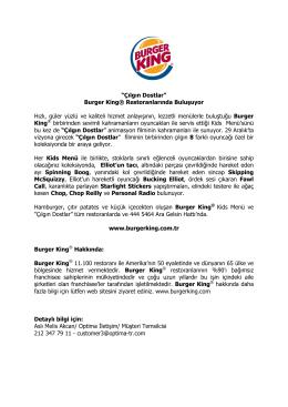 """""""Çılgın Dostlar"""" Burger King® Restoranlarında Buluşuyor Hızlı, güler"""