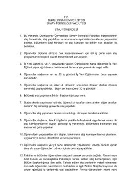 T.C. DUMLUPINAR ÜNİVERSİTESİ SİMAV TEKNOLOJİ FAKÜLTESİ
