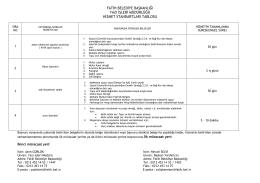 Yazı İşleri Müdürlüğü Hizmet Standartları Tablosu