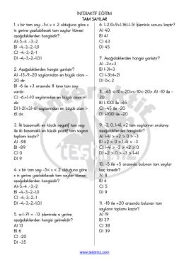 Tam Sayılar Cevaplı Test