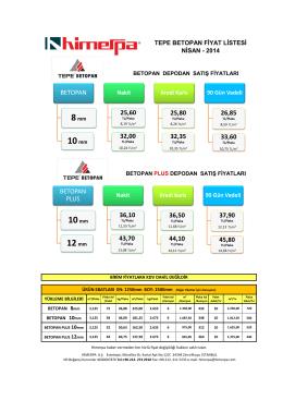 Betopan / Betopan Plus Fiyat Listesi 2014 Nisan