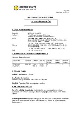 sodyum klorür - Malzeme Güvenlik Bilgi Formu ( MSDS )
