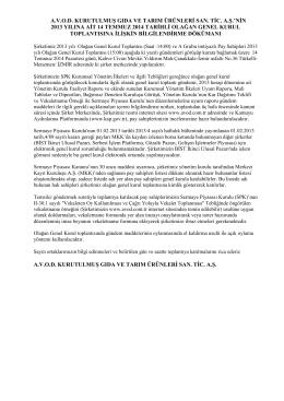 Genel Kurul Bilgilendirme Dökümanı 2013