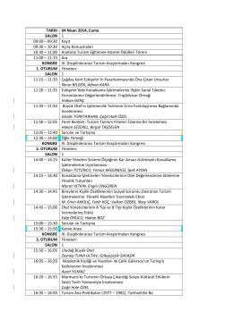TARİH 04 Nisan 2014, Cuma SALON 1 09:00 – 09:30