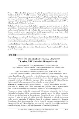 (Asteraceae) Türlerinin XRF Yöntemiyle Elementel Analizi