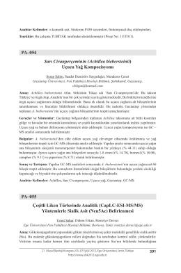 PA–054 Sarı Civanperçeminin (Achillea biebersteinii) Uçucu Yağ