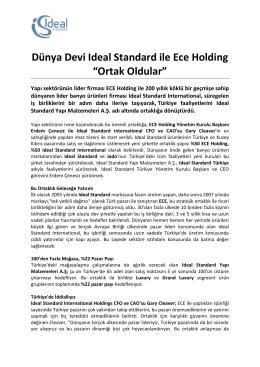 """Dünya Devi Ideal Standard ile Ece Holding """"Ortak Oldular"""""""