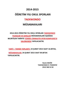 Taekwondo İl Birinciliği - Trabzon Gençlik ve Spor İl Müdürlüğü