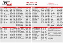 MAC Kanyon ders programı