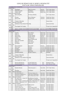 21-27 ŞUBAT 2015 HAFTALIK BÜLTEN