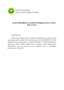 AUZEF Bildirim ve Çözüm Merkezi - İstanbul Üniversitesi Açık ve