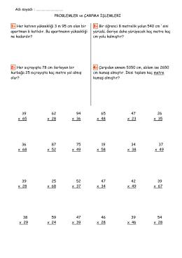 3.snf matematik problemler ve çarpma işlemleri