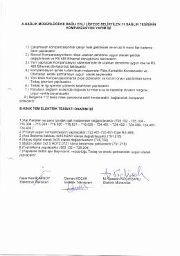 Sağlık Müdürlüğüne bağlı 11 Sağlık Tesisi Kompanzasyon Yapım İşi