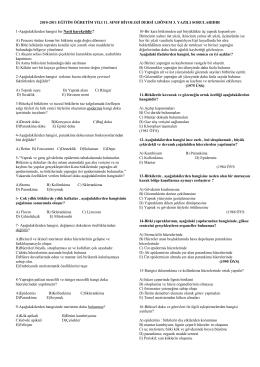 2010-2011 EĞĠTĠM ÖĞRETĠM YILI 11. SINIF BĠYOLOJĠ DERSĠ
