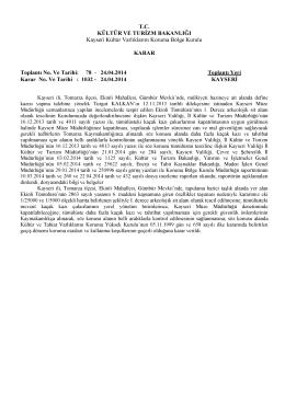 1032- Kayseri- Tomarza- Ekinli Mah. I. Derece Arkolojik Sit