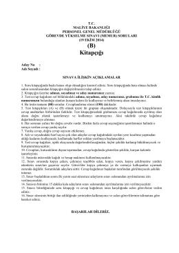 (B) Kitapçığı - Maliye Bakanlığı