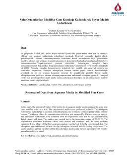 Sulu Ortamlardan Modifiye Çam Kozalağı Kullanılarak