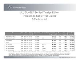 ML/GL/GLK Serileri Tavsiye Edilen Perakende - Mercedes-Benz