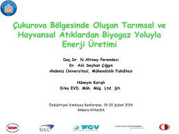 Tarımsal ve Hayvansal Atıklardan Biyogaz ve Enerji Üretimi