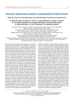 Pulmoner hipertansiyon patoloji ve patobiyolojisi ile ilişkili konular