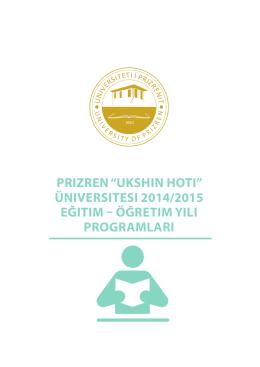 Üniversitesi 2014/2015 eğitim – öğretim yili Programlari