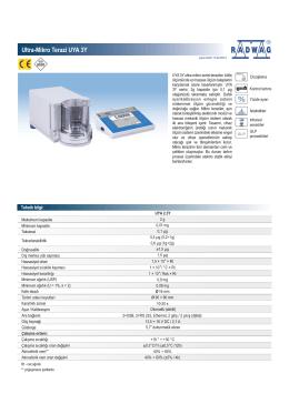 Ultra-Mikro Terazi UYA 3Y - BAYKON Endüstriyel Tartım Sistemleri