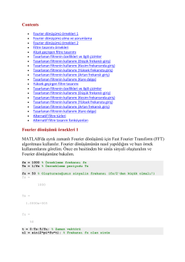 Contents Fourier dönüşümü örnekleri 1 MATLAB
