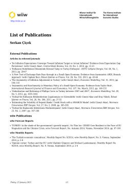 List of Publications - Serkan Çiçek