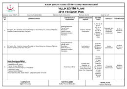YILLIK EĞĠTĠM PLANI 2014 Yılı Eğitim Planı