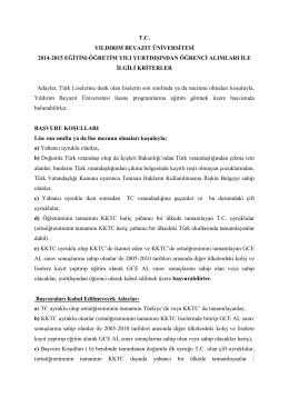 T.C. YILDIRIM BEYAZIT ÜNĠVERSĠTESĠ 2014