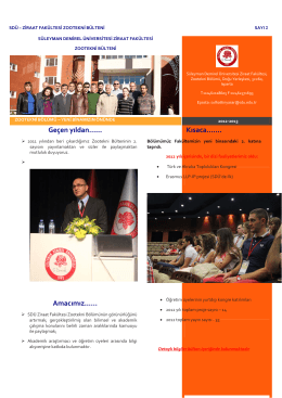 Zootekni Bölüm Bülteni 2012 - Ziraat Fakültesi