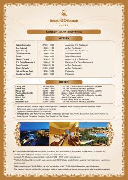 YİYECEK İÇECEK - Belek Beach Resort Hotel