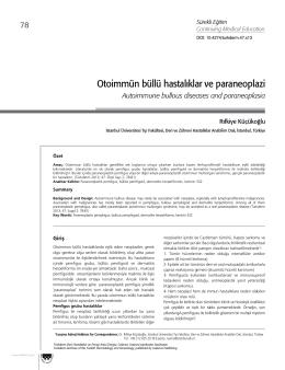 Otoimmün büllü hastalıklar ve paraneoplazi